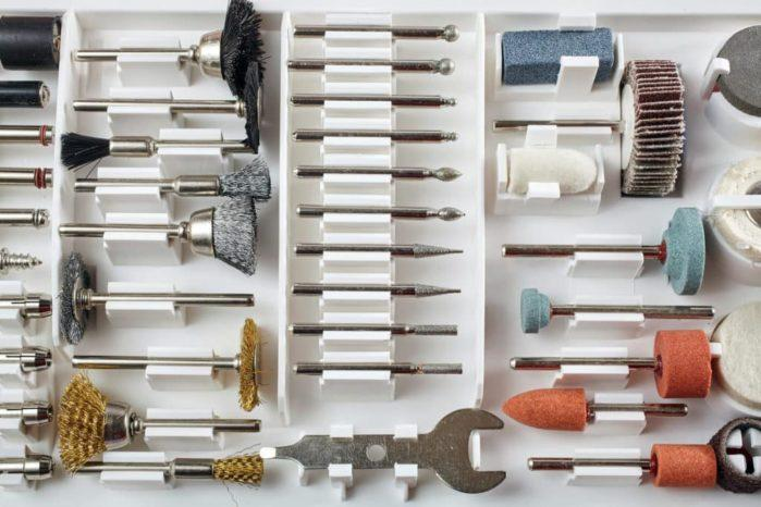 Various mini rotary tool bits in a white box