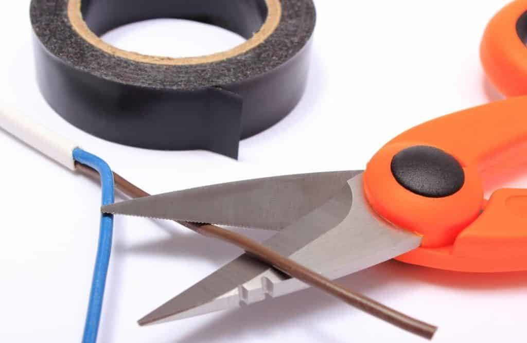 Cable cutter electric wire and black insulating tape