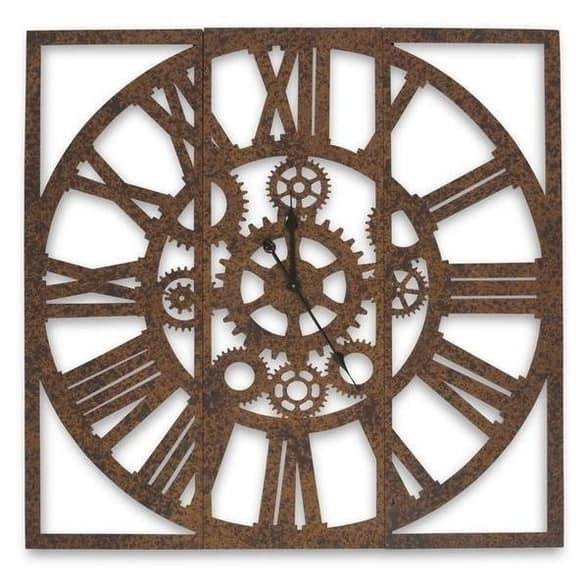 RUSTY THREE PANEL IRON WALL CLOCK