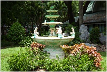 fountain covered with plants