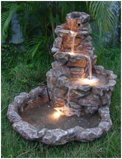 fountain with lighting fixtures