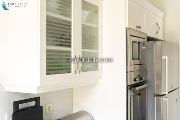 white glass cabinets