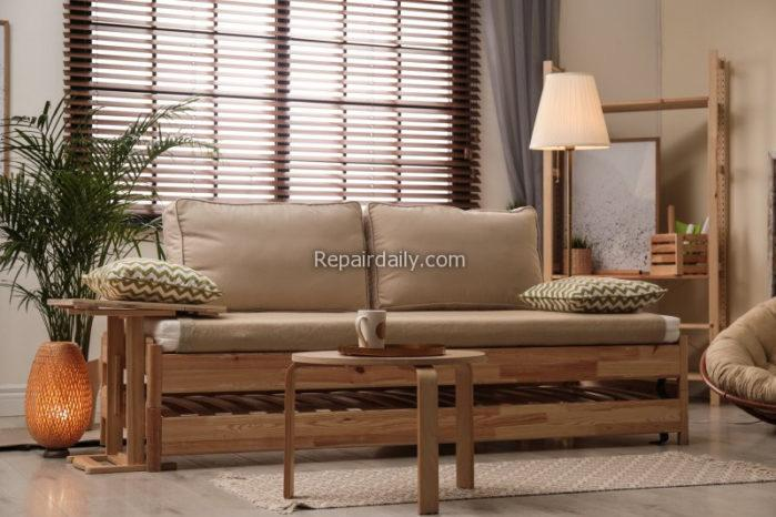 window blinds and sofa in a room