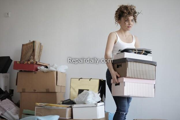 lady moving boxes