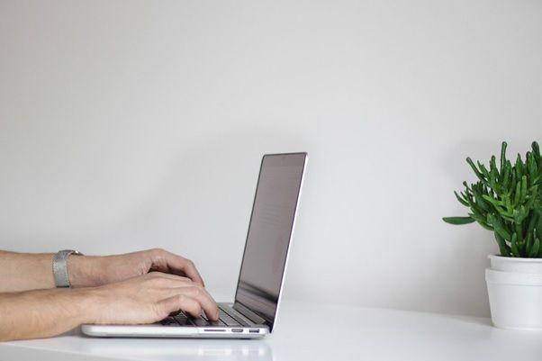 typing in laptop