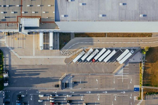 ariel view of moving vehicle containers