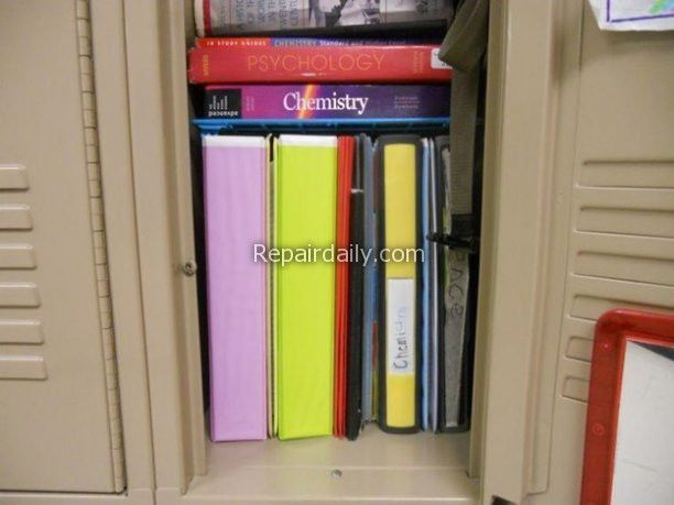books and files inside locker
