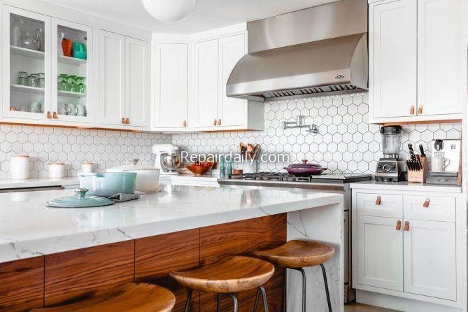 kitchen countertops chimney cabinets