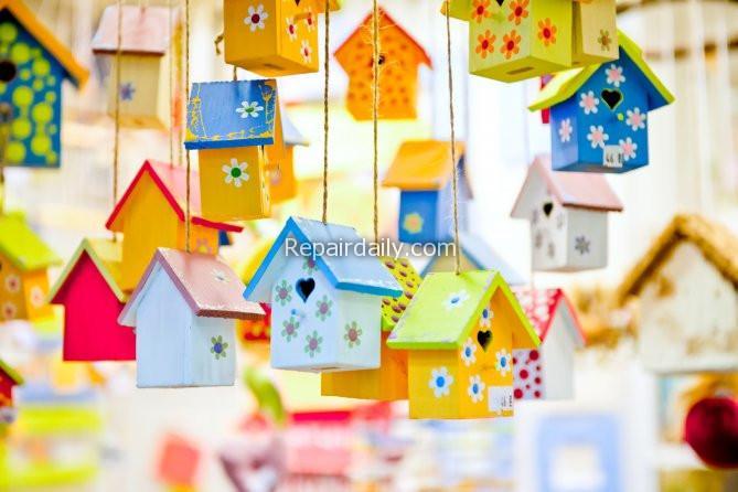 hanged small birdhouses