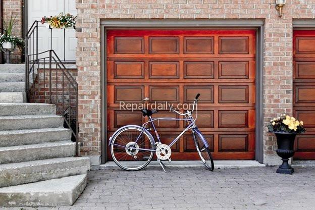 bicycle parked garage door