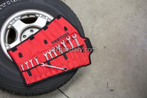 car tire and tools