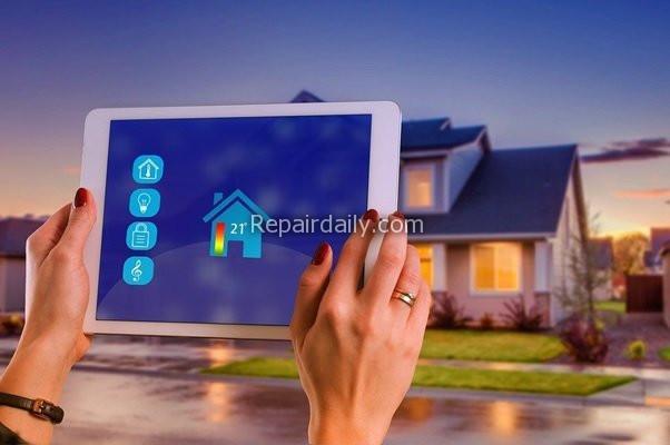 high tech smart home controlling tab