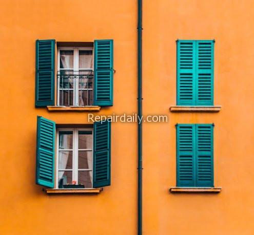 orange house green window