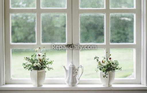 white window flower vase